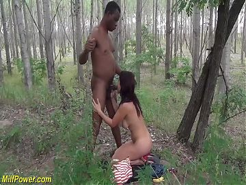 milf outdoor interracial big cock fucked