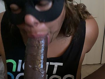 Suck slut chokes herself on bbc with no hands