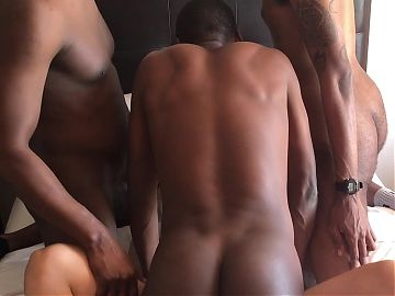 Interracial Hotel Gangbang with BBC